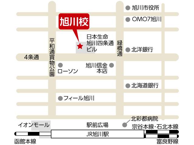 東京アカデミー旭川校のマップ画像